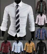 Fashion Mens Luxury Stylish Long Sleeve Slim Fit Casual Dress Shirts Stylish fd