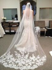 New White/Ivory Beautiful Cathedral Length Lace Edge Wedding Bridal Veil Comb