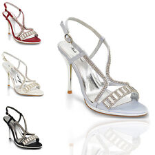 WOMENS CHROME HIGH HEEL PLATFORM SANDALS LADIES DIAMANTE BRIDAL PROM PARTY SHOES
