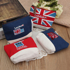 Women Fashion London Impressions Canvas Zipper Coin Purses Wallet Bag Key Holder