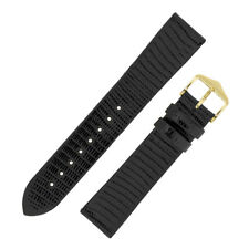 Hirsch LIZARD Small Scaled Lizard Skin Watch Strap and Buckle in BLACK