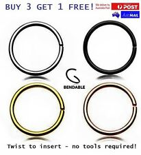6mm - 8mm - 10mm / 18g - 20g Thin Nose or Lip Ring Hoop Piercing Seamless