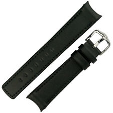Hirsch LEONARDO HEAVY CALF Curved Ended Leather Watch Strap and Buckle in BLACK