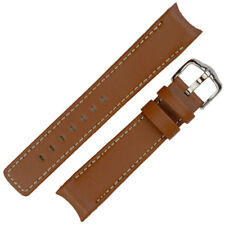 Hirsch LEONARDO HEAVY CALF Curved Ended Leather Watch Strap & Buckle GOLD BROWN