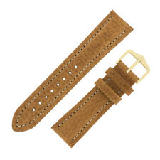Hirsch BUFFALO Natural Calf Leather Watch Strap and Buckle in GOLD BROWN