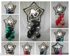 NEW 16th BIRTHDAY PARTY AGE 16 BALLOON DECORATION TABLE CENTRE PIECE DISPLAY
