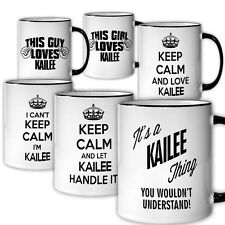 KAILEE Themed Coffee Mug NEW 6 Designs Available Keep Calm Love Handle Tea