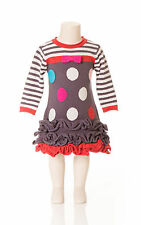 Deux Par Deux Girls Princess De Nord Polka Dot Knit Dress Nine Iron Gray Size 3-