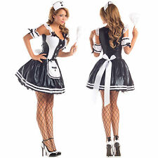 Sexy Womens French Maid For Fun Mistress Black Hottie Dress Halloween Costume