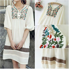 Vintage 70s Peasant Embroidered Floral Mexican Gypsy Dress Boho Women Blouse