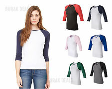 Bella Ladies Baseball Raglan 3/4 Sleeve T-Shirt Womens TEE S M L XL 2XL 2000