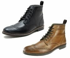 Red Tape Mens Brogue Fashion Round toe Lace Up Leather Burnished Tan Boots