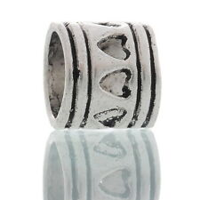 Wholesale Silver Tone Heart Tube Spacers Beads. Fits Charm Bracelet 7x7mm