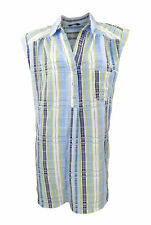 Evans Plus Size Blue & Green Crinkle Over Shirt with Turn Back  Sleeves