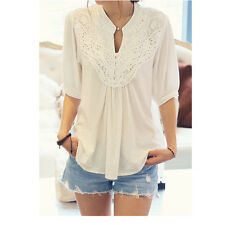 Latest Half Sleeve Shirt Lace Lady Tops Fashion Splicing Flower Casual Blouse