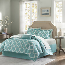 BEAUTIFUL MODERN CHIC REVERSIBLE BED IN BAG BLUE TEAL GREY COMFORTER SET SHEETS