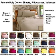 Poly Cotton Fitted & Flat Sheets, Pillowcases, Valances - 21 Colours - All Sizes