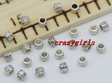 200/1000pcs Tibetan Silver Cylinder Spacer beads Charms Jewelry DIY 4x3mm