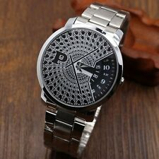 PAIDU Fashion New Turntable Dial Quartz Wrist Watch Men's Stainless Steel Strap