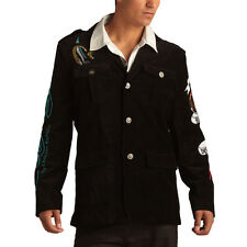 Ed Hardy Black Mens Born Free Eagle Velvet Blazer Jacket