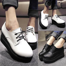 Womens Lace Up Creepers Double Sole Round Toe Faux Leather Flats Oxfords Shoes