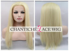 Long Straight Blonde Synthetic Hair Lace Front Wigs Heat Resistant White Women