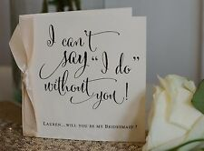Personalised Vintage/Rustic 'Will you be my Bridesmaid?' Card with ribbon knot