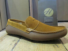 H by Hudson Miglia Tan Suede Leather Rubber Moccasin Loafer Shoe