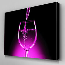 AB055 Purple Glow Wine Glass Canvas Wall Art Ready to Hang Picture Print