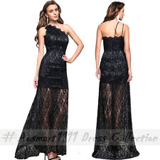 Sexy One Shoulder Lace Mermaid Maxi Slim Formal Wedding Party Evening Long Dress