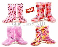 Girls JR Youth High Low Heels Ankle Water Tall Mid Calf Rain Boots Jelly Shoes