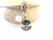 3D Cute Real Tiny Pearl Shell Oyster Slider Dangle Charm fit Silver Euro Bracele