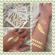 Foil Metallic Temporary Tattoo Transfer Gold Silver 1 x Large Sheet UK SELLER