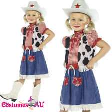 Kids Girls Cowgirl Sweetie Costume Western Wild West Cowboy Fancy Dress + Hat