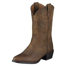 ARIAT HERITAGE WESTERN COWBOY BOOTS BOYS GIRLS Distressed Brown Leather 10001825