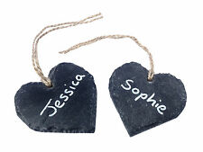 Heart Shape Slate Wedding Favour 8cm Hanging Place Table Setting Name Tag Label
