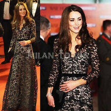 New Princess Kate Style ROYAL Black Nude LACE Long Ball Gown Maxi Dress