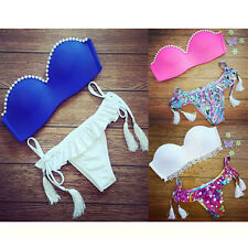 2015 Sexy Women Bikini Set Bra Pearl Swimsuit Push-up Swimwear Summer Beach HOT