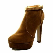 Camel Brown suedette high heel ankle boots with ankle strap detail