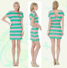 New Lilly Pulitzer Ames Tropical Pink Cucina Stripe sequinced Dress Pink  XS M