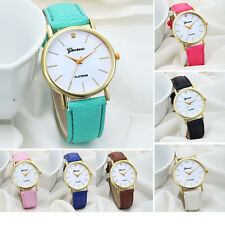 Fashion Women Watches Design Dial Leather Band Analog Geneva Quartz Wrist Watch
