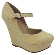 Wild Diva Shoes Women Classic Wedge Closed Toe Beige Nude Platform Pumps KENDALL