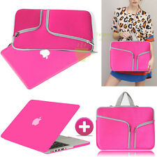 Hot Pink Rubberized Case Cover +Sleeve Bag For Macbook Pro 13 Air 11 Retina 15