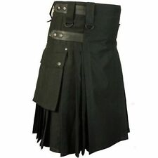 Deluxe  black Utility Fashion Kilt FOR MEN