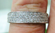 925 sterling silver 5mm wide 3 row cz wedding eternity ring band big size R T V