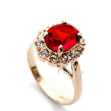 Fashion Red Austrian Crystal Ring Lady's 18K Rose Gold Plated Jewelry  Size 6-9