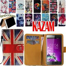 Flip Folio Card Wallet Stand Leather Cover Case For Various Kazam Smartphone