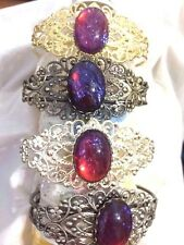 MEXICAN FIRE OPAL wedding BRACELET DRAGONS BREATH SILVER GOLD CUFF BANGLE GOTHIC