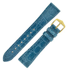 Hirsch GENUINE CROCO Shiny Crocodile Leather Watch Strap and Buckle in TURQUOISE