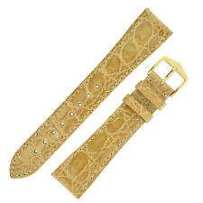 Hirsch GENUINE CROCO Shiny Crocodile Leather Watch Strap and Buckle in BEIGE